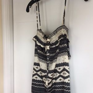 Silky black and white patterned dress